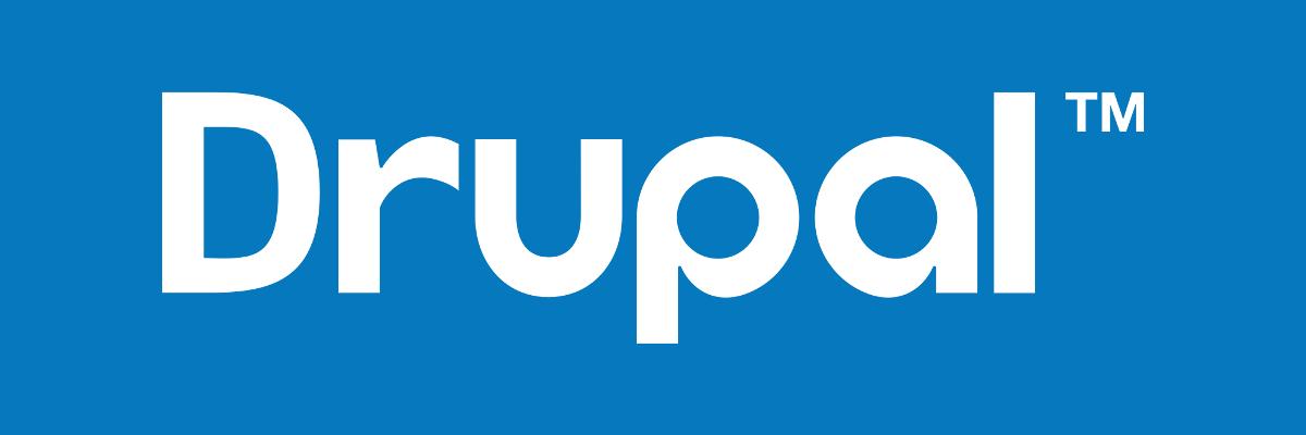 Drupal logo on blue background