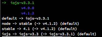 NVM - installed versions os NodeJS and IO.js