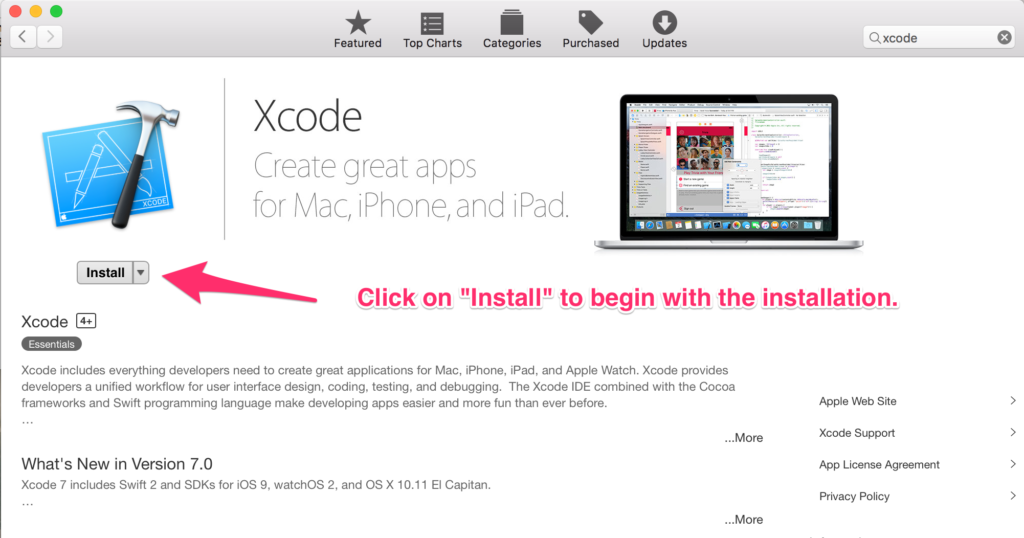 Install Xcode from Mac App Store