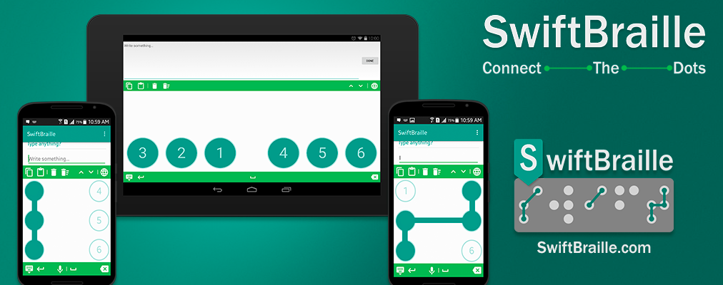 Image of Swiftbraille android app to type using Braille