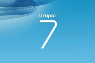 Drupal 7 logo on a blue background