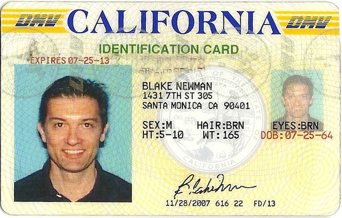 Blake Newman, California Driver's License