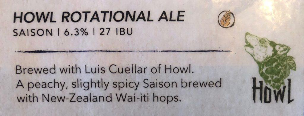 Howl saison beer by Luis Cuellar