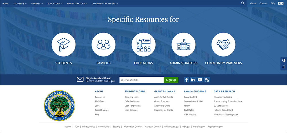 Department of education concept, footer.
