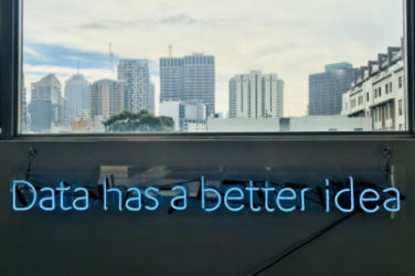 Data has better idea text on a wall