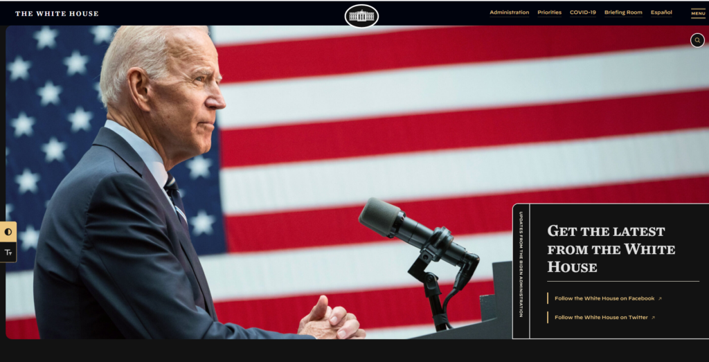 Whitehouse.gov in dark mode. To improve accessibility of the White House's website, the website can now be toggled between light and dark mode and also has an option for larger text.