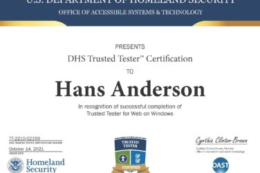 Hans Anderson's DHS Trusted Tester Certificate.